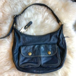 Marc Jacobs Blue Leather Hobo Purse, Gold Hardware
